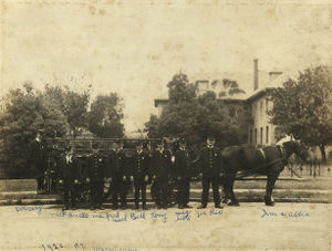 Roman Catholic Diocese of Fort Worth - Firemen in front of St Joseph Infirmary