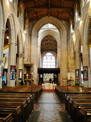 St Laurence's Church, Ludlow - The interior looking east towards the chancel