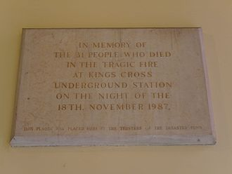 King's Cross fire - Memorial to the 1987 fire in St Pancras New Church