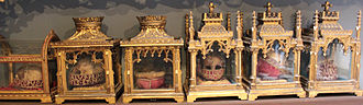 Basilica of St. Ursula, Cologne - A portion of the collection of skull relics in the Golden Chamber