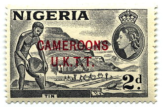 1953 postage stamp with portrait of Queen Elizabeth II Stamp Cameroons 2d-600px.jpg