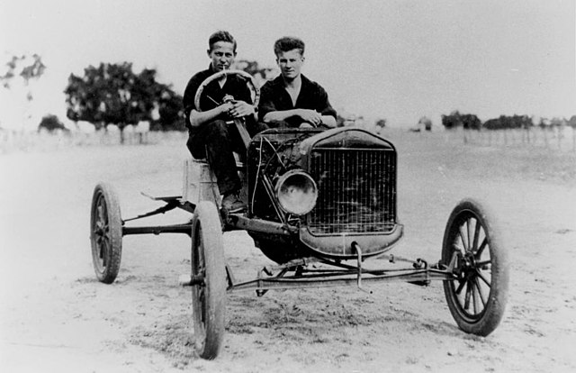 1928 photo of a stripped-down Model T Ford jalopy