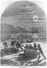 Historic engraving of men catching turtles on a beach