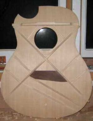 Guitar bracing - Image: Steel String X bracing 1