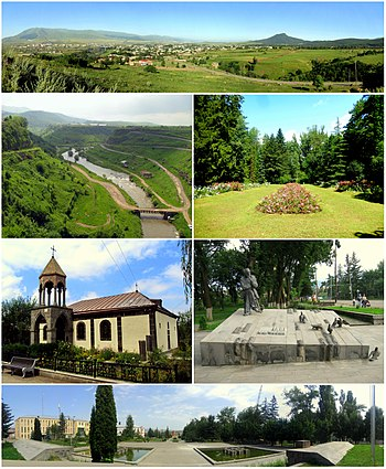 From top left: Panoramic view of StepanavanDzoraget River • Stepanavan DendroparkSurp Sarkis Church • Memorial to Sos SargsyanStepanavan central square