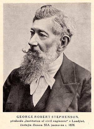 """George Robert Stephenson - """"George Robert Stephenson, President of the Institution of Civil Engineers in London, honorary member of the Society of Czech Engineers since 1878"""""""