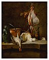 Still Life with a ray-fish, a basket of onions, eggs, cheese, a green jug and a copper pot, with a mortar and pestle on a stone ledge .jpg
