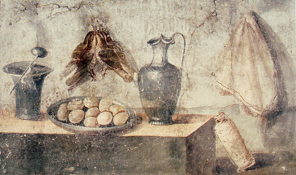 Still life with eggs, birds and bronze dishes, Pompeii
