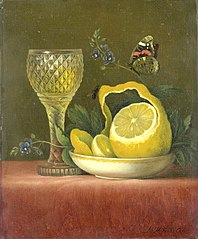Still Life with Lemon and Cut-glass Wine Goblet