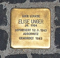 Photo of Elise Unger brass plaque