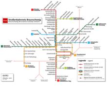 af84985e0a Streckennetz der Straßenbahn Braunschweig