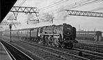Down Christmas Relief express passing Stratford in 1959 with a BR 'Britannia' Pacific