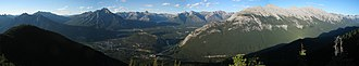 Banff National Park - View from the summit of Sulphur Mountain, showing Banff and the surrounding areas