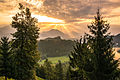 Sunrise over the Bled castle at lake Bled 2013.jpg