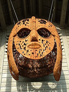 Colour photograph of a sculpture of the Sutton Hoo helmet by Rick Kirby