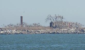 Swinburne Island - Surviving buildings, seen from the west