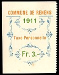 Switzerland Renens 1911 revenue 5 3Fr - 23B.jpg