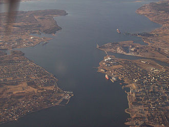 Sydney, Nova Scotia - Sydney Harbour aerial view looking towards the north-east.