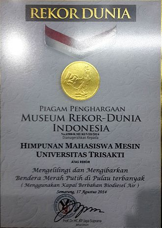 Trisakti University - Indonesian World Records Museum certificate for Trisakti University's Mechanical Engineering Department, which successfully toured 69 islands in Indonesia, uses a water-in-diesel-fueled fishing boat.