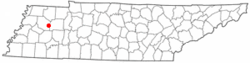 Location of Milan, Tennessee