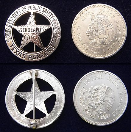 The modern-day badge of a Texas Ranger is compared to the obverse and reverse of a 1948 cinco pesos coin from which it is made. TXAS RANGERS-F&B-W.JPG