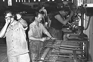 Israel Military Industries - Manufacturing gun barrels in an IMI factory, 1955