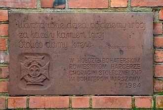 Mały Powstaniec - Image: Tablica Pomnik Małego Powstańca w Warszawie