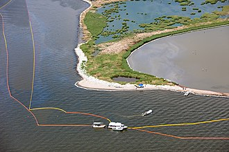 Deepwater Horizon oil spill - Oil containment boom used in an attempt to protect barrier islands