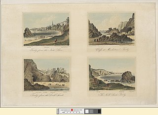 Tenby from the north shore: Cliffs at Monkstone, Tenby; Tenby from the South Sands; The North Sands, Tenby