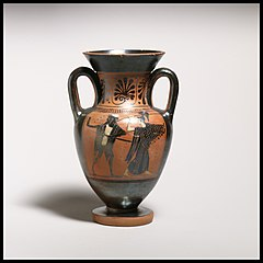 Terracotta neck-amphora with double handles
