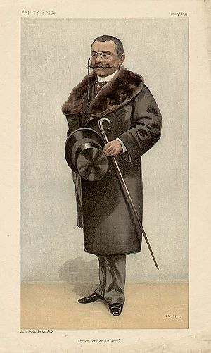 Théophile Delcassé - Delcassé caricatured by Guth for Vanity Fair, 1899