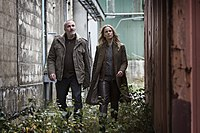 The Bridge season 2 Kim Bodnia as Martin Sofia Helin as Saga Photo Carolina Romare 2012 (8724803961).jpg