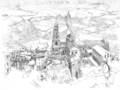 The Cathedral and City of Le Puy-en-Velay - drawing by Joseph Pennell.png