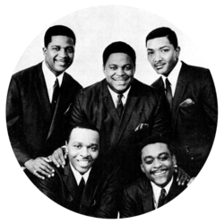 The Dells in 1967: (Top row, L-R): Mickey McGill, Marvin Junior, Verne Allison. (Bottom row, L-R): Chuck Barksdale, Johnny Carter.