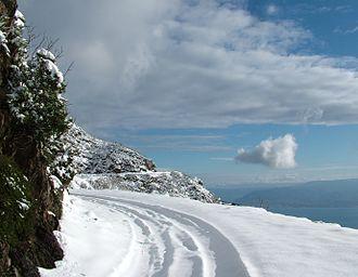 Dorsale dei Peloritani - A white Dorsale dei Peloritani hugs the Strait of Messina