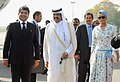The Emir of the State of Qatar, His Highness Sheikh Hamad Bin Khalifa Al –Thani and Her Highness Sheikh Moza Bint Nasser being received by the Minister of State for Petroleum and Natural Gas and Corporate Affairs.jpg