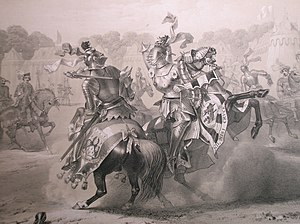 Eglinton Tournament of 1839 - The joust between the Knight of the Red Rose and the Lord of the Tournament, as engraved by Thomas Hodgson
