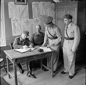Otto Wagener - Wagener signs the instrument of surrender for the German forces in the Dodecanese to the British, 8 May 1945