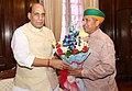 The Minister of State for Finance and Corporate Affairs, Shri Arjun Ram Meghwal calling on the Union Home Minister, Shri Rajnath Singh, in New Delhi on July 11, 2016.jpg