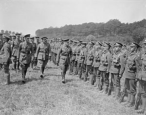 2nd Infantry Brigade (United Kingdom) - Prince Arthur, the Duke of Connaught, inspecting troops of the 1st Battalion, Northamptonshire Regiment, 2nd Brigade. Near Bruay, 1 July 1918.