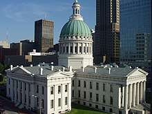 Contemporary photograph of the Old Courthouse in St. Louis showing its dome and expansion wings