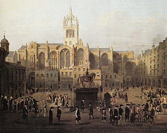 Edinburgh - A painting showing Edinburgh characters (based on John Kay's caricatures) behind St Giles' Cathedral in the late 18th century