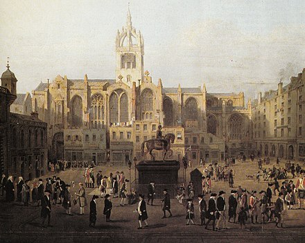A painting showing Edinburgh characters (based on John Kay's caricatures) behind St Giles' Cathedral in the late 18th century The Parliament Close and Public Characters Fifty Years Since.jpg