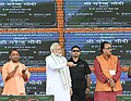 The Prime Minister, Shri Narendra Modi laying the Foundation Stone for various development projects, in Varanasi, Uttar Pradesh on September 18, 2018. The Chief Minister of Uttar Pradesh, Yogi Adityanath is also seen.JPG