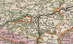 Siege of Namur (1692) - Detail of a contemporary map of the Spanish Netherlands that shows the limit of French conquests (in pink) shortly before the start of the campaign of Namur.