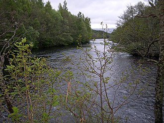 Battle of Invernahavon - The River Spey at the point where itis joined by the River Truim (on the right), where the battle is said to have taken place