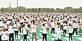 The participants in the mass performance of Common Yoga Protocol, on the occasion of the 4th International Day of Yoga -2018, at Rohini, in New Delhi on June 21, 2018 (3).JPG