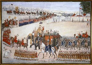 Yusef Ali Khan - The Procession of Yusef Ali Khan. A painting depicting Yusef Khan on his way to the encampment of Lord Canning for the durbar held at Fatehgarh on November 15, 1859