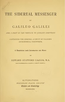 The sidereal messenger of Galileo Galilei.pdf