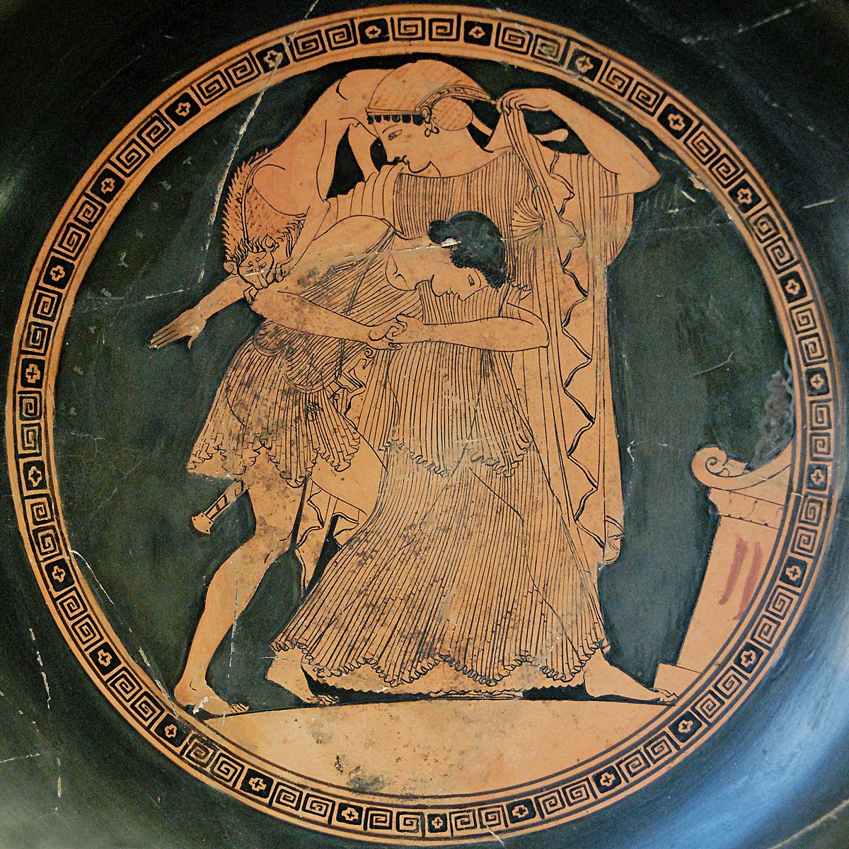 Thetis raped by Peleus. Tondo of an Attic red-figured kylix, ca. 490 BC. From Vulci, Etruria.